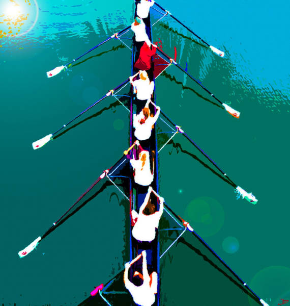 Rowing Wall Art - Painting - Rowing In The Sun by David Lee Thompson