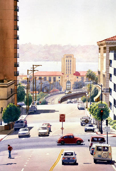 Volkswagen Wall Art - Painting - Sd County Administration Building by Mary Helmreich
