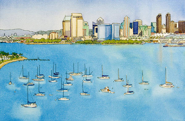 Ocean City Painting - Sd Skyline Pen And Ink by Mary Helmreich