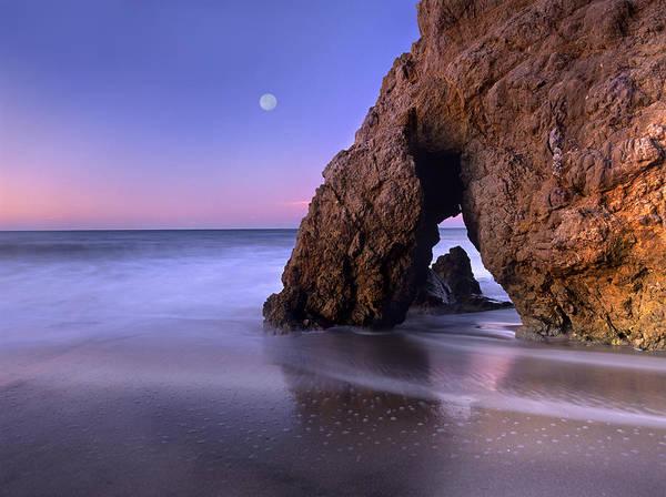 Matador Photograph - Sea Arch And Full Moon Over El Matador by Tim Fitzharris