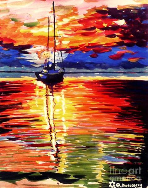 Nigeria Painting - Sea At Night  by Moscolexy Moscolexy