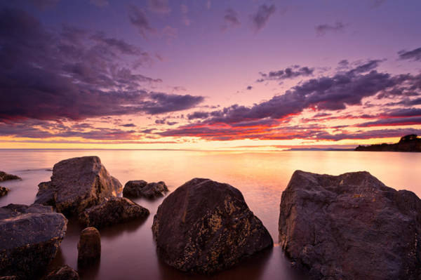 Sea At Sunset The Sky Is In Beautiful Dramatic Color Art Print