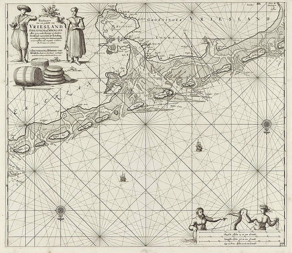 Sea Stacks Drawing - Sea Chart Of A Large Part Of The Wadden, Jan Luyken by Jan Luyken And Johannes Van Keulen (i)