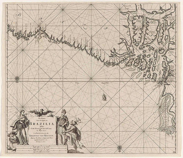 Sea Chart Of Part Of The Coast Of Brazil With The Delta Art Print
