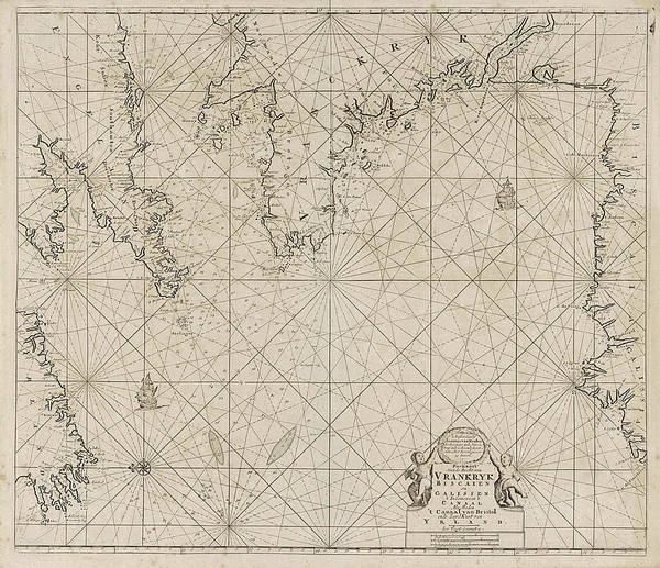 1715 Drawing - Sea Chart Of Part Of The Coast Of Ireland by Litz Collection