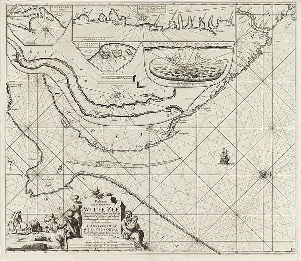 Wall Art - Drawing - Sea Chart Of Part Of The Coast Of The Kola Peninsula by Jan Luyken And Johannes Van Keulen (i)