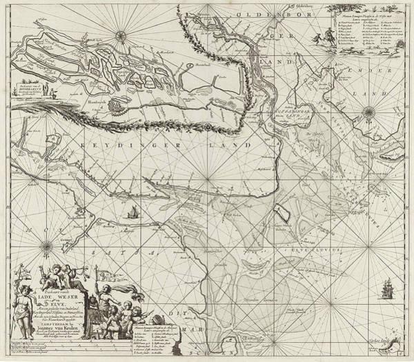 Sea Chart Of Part Of The Elbe, The Weser And Jadebusen Art Print by Jan Luyken And Johannes Van Keulen I