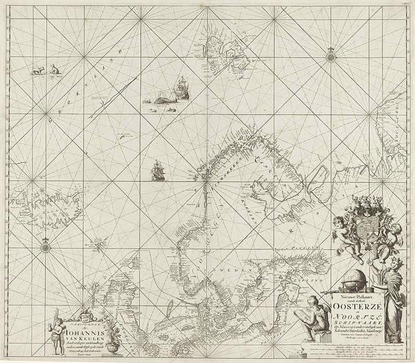 Polar Bear Drawing - Sea Chart Of The Baltic And North Sea, Jan Luyken by Jan Luyken And Johannes Van Keulen (i)
