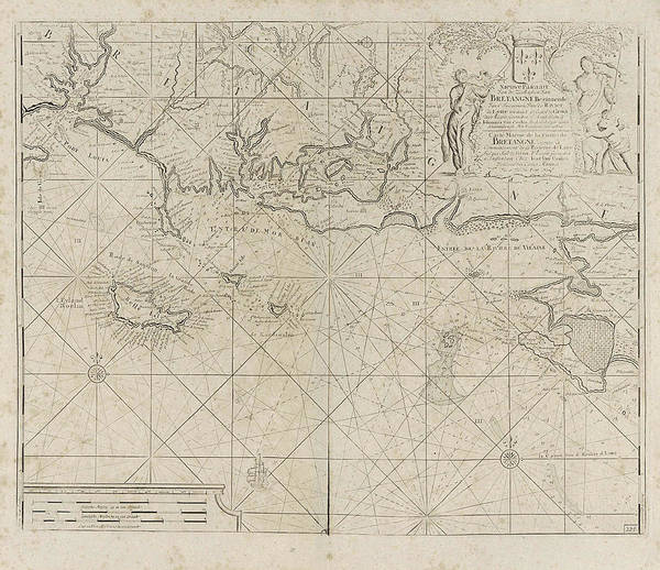 Wall Art - Drawing - Sea Chart Of The Coast Of France Between The Island by Anonymous And Claes Jansz Voogt And Johannes Van Keulen I
