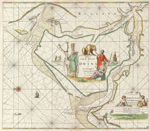 Distribution Drawing - Sea Chart Of The Northern Dvina River, Jan Luyken by Jan Luyken And Johannes Van Keulen (i)