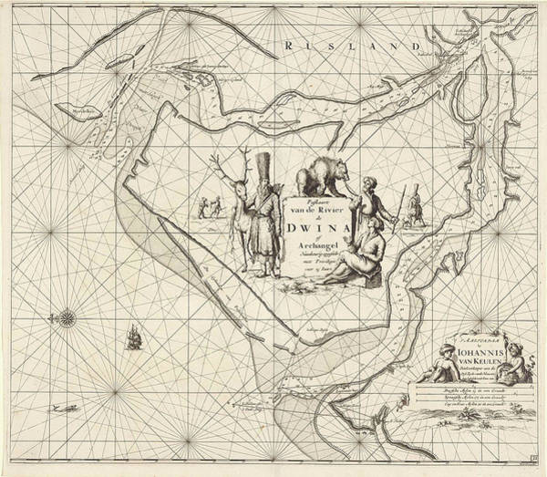 Distribution Drawing - Sea Chart Of The Northern Dvina River, Russia by Jan Luyken And Johannes Van Keulen I