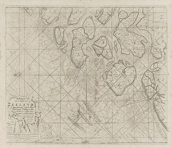 Wall Art - Drawing - Sea Chart Of The Zeeland Islands And Part Of The North Sea by Jan Luyken And Anonymous And Johannes Van Keulen (i)
