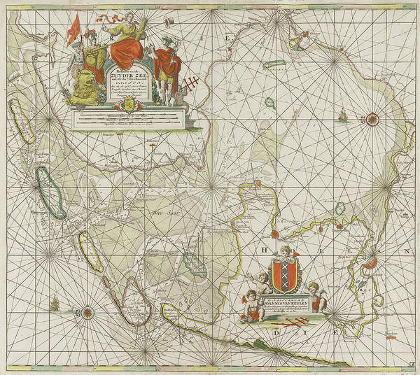 Wall Art - Drawing - Sea Chart Of The Zuiderzee And The Wadden Sea by Jan Luyken And Johannes Van Keulen (i)