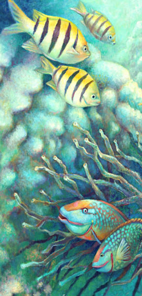 Wall Art - Painting - Sea Folk I - Sergeant Majors by Nancy Tilles