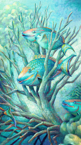 Wall Art - Painting - Sea Folk II - Parrot Fish by Nancy Tilles