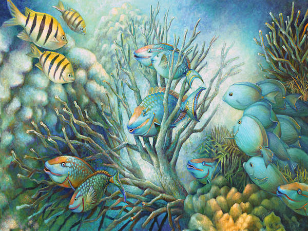 Wall Art - Painting - Sea Folk by Nancy Tilles