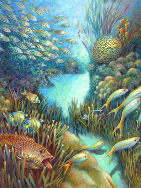 Wall Art - Painting - Sea Food Chain - Stalker by Nancy Tilles