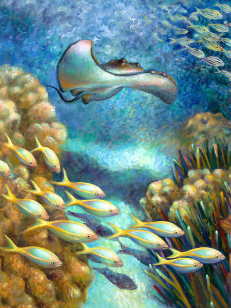 Wall Art - Painting - Sea Food Chain - Stingray by Nancy Tilles