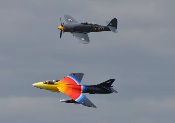 Hawker Sea Fury Photograph - Sea Fury And Hunter by Simon Hackett