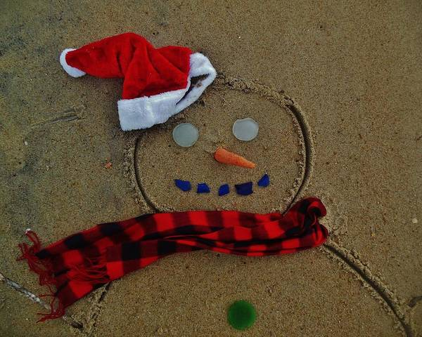 Standup Paddleboard Photograph - Sea Glass Snowman 2 12/23 by Mark Lemmon