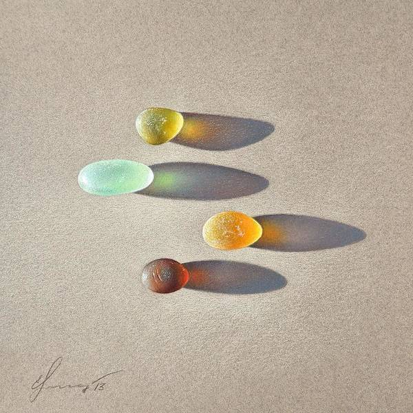 Drawing - Sea Glass - The Race by Elena Kolotusha