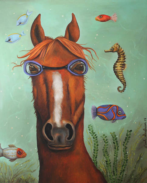 Painting - Sea Horse Better Edit by Leah Saulnier The Painting Maniac