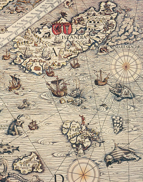 Close Up Drawing - Sea Map By Olaus Magnus by Olaus Magnus
