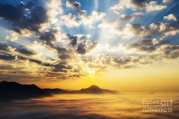 Horizontally Photograph - Sea Of Clouds On Sunrise With Ray Lighting by Setsiri Silapasuwanchai
