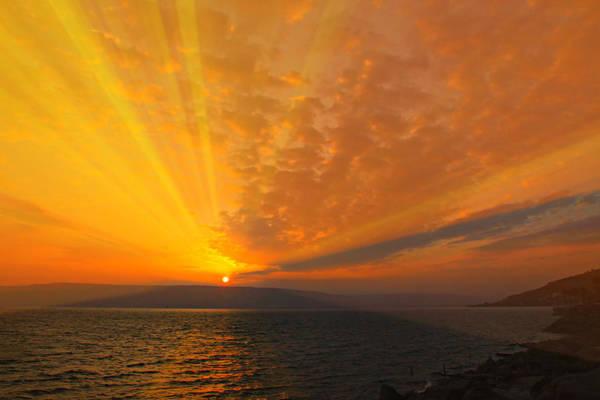 Holy Land Photograph - Sea Of Galilee Sunrise by Stephen Stookey