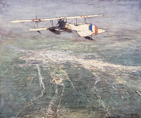 Plane Drawing - Sea-plane Flying Over Damascus by Donald Maxwell
