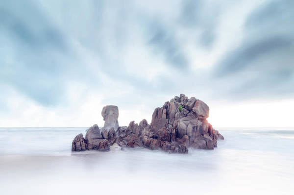 Galicia Photograph - Sea Scape Rock In The Middle Of The Sea by Daniel Viñé Garcia