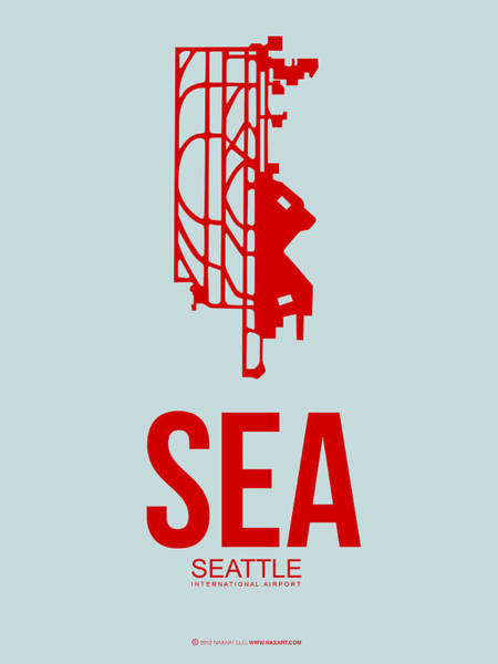Seattle Digital Art - Sea Seattle Airport Poster 1 by Naxart Studio