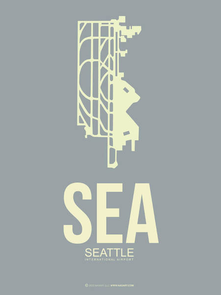 Seattle Digital Art - Sea Seattle Airport Poster 3 by Naxart Studio