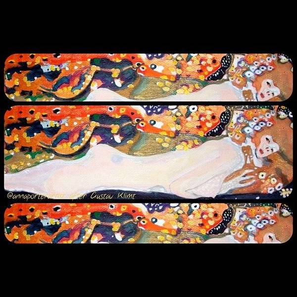 Nudes Wall Art - Photograph - Sea Serpent IIi Tryptic After Gustav Klimt by Anna Porter