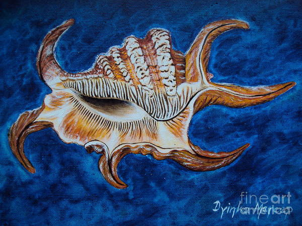 Painting - Sea Shell Original Painting Oil On Canvas No.3. by Drinka Mercep