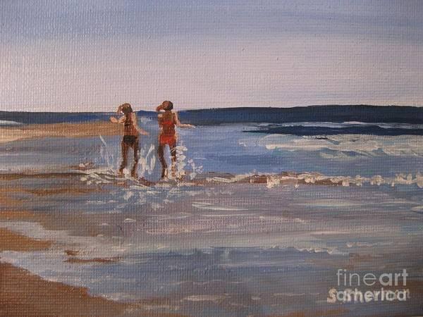 Sea Splashing On The Beach Art Print