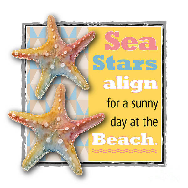 Sea Star Painting - Sea Stars Align For A Sunny Day At The Beach. by Amy Kirkpatrick
