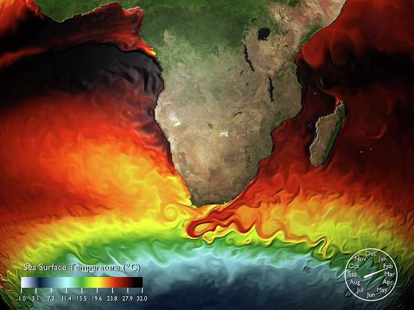 Equatorial Africa Wall Art - Photograph - Sea Surface Temperature Simulation by Noaa/gfdl/science Photo Library