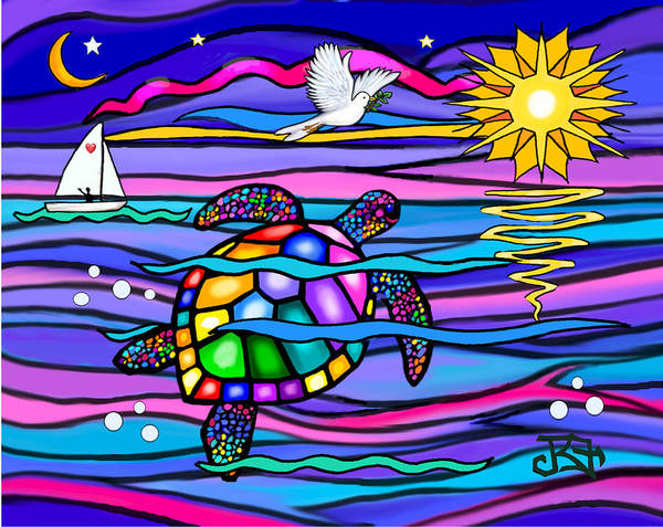 Sea Turle In Blue And Pink Art Print