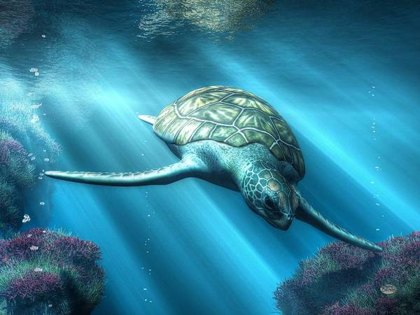 Digital Art - Sea Turtle by Daniel Eskridge