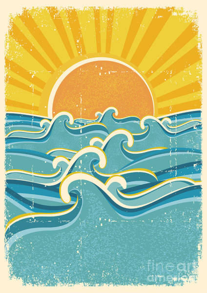 Wall Art - Digital Art - Sea Waves And Yellow Sun On Old Paper by Tancha