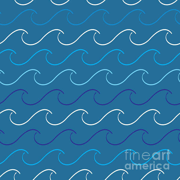 Blue Hair Wall Art - Digital Art - Sea Waves Pattern by Charles Whitefield
