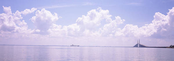Sea Of Serenity Photograph - Sea With A Container Ship by Panoramic Images