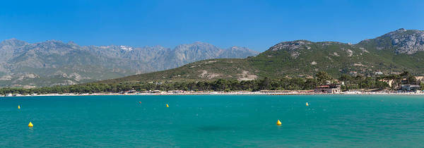 Calvi Photograph - Sea With Mountain Range by Panoramic Images