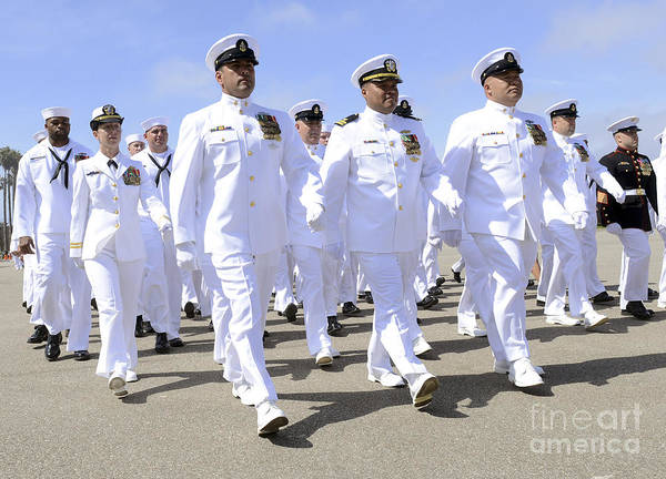 Medal Of Honor Photograph - Seabees March In Formation by Stocktrek Images