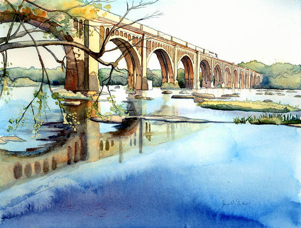 Train Wall Art - Painting - Seaboard Bridge Crossing The James  by Jim Smither