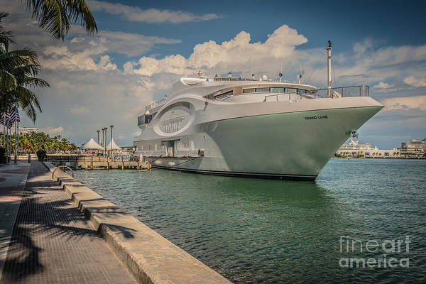 Wall Art - Photograph - Seafair Art Venue Yacht Moored In Miami - Hdr Style by Ian Monk
