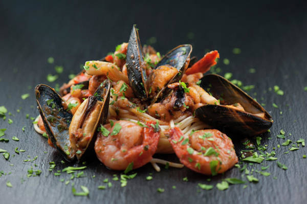 Seafood Photograph - Seafood Pasta by Cbording