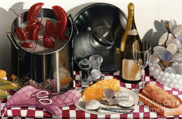 Stainless Steel Wall Art - Painting - Seafood Serenade 1996  Skewed Perspective Series 1991 - 2000 by Lawrence Preston