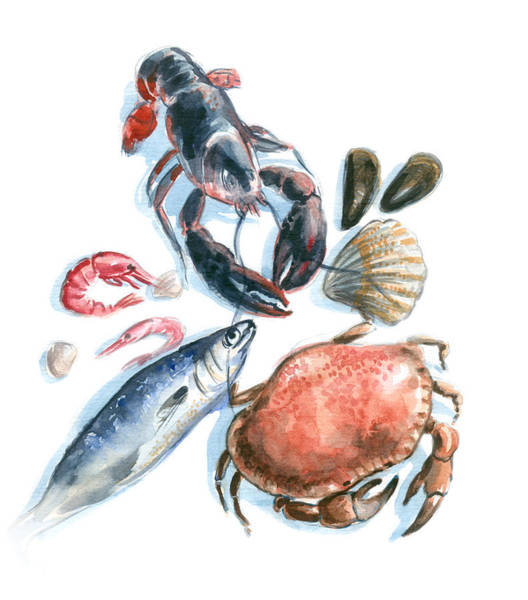 Seafood Watercolor Art Print by Axllll